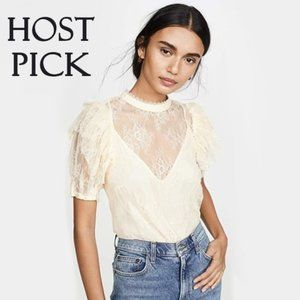 NWT Free People floral lace sheer ruffle blouse, S